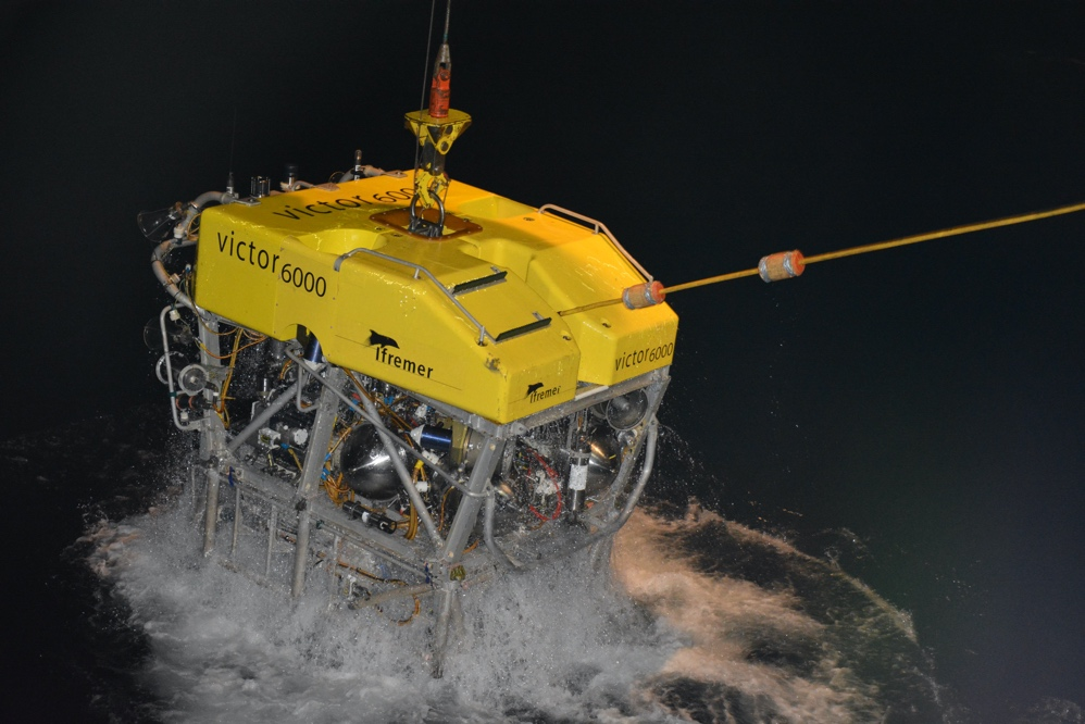 "Deployment of the Remotely Operated Vehicle ""Victor 6000"" from IFREMER"