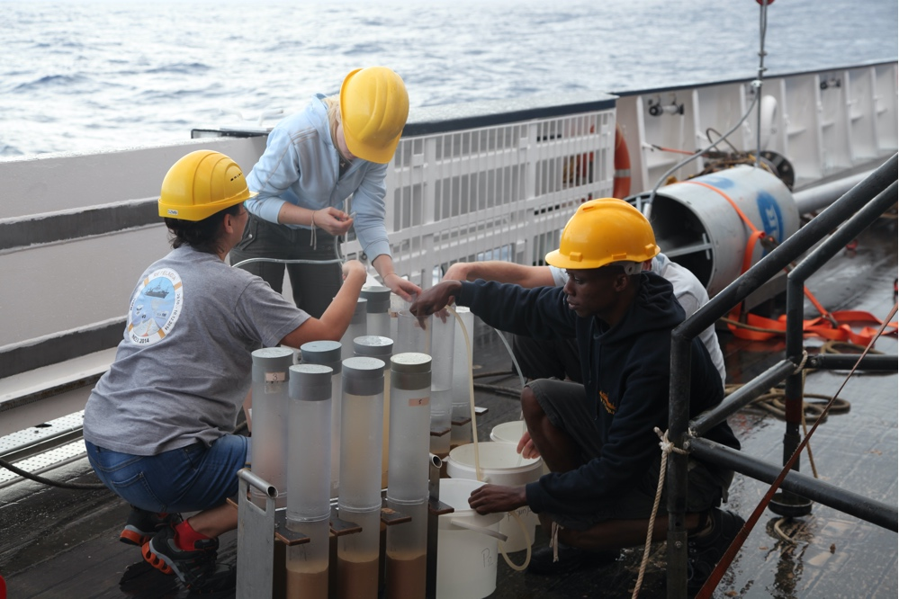 INES Team processes sediment cores taken with the Multicorer Tool from the seafloor