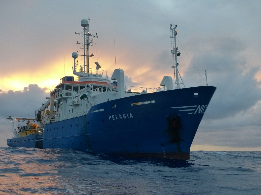 Research Vessel Pelagia in the Indian Ocean on station